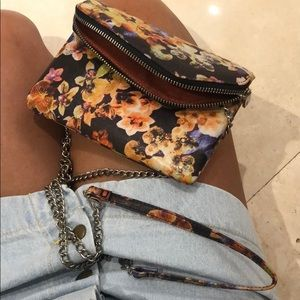 Hobo Crossbody Abstract Floral Print Purse Small